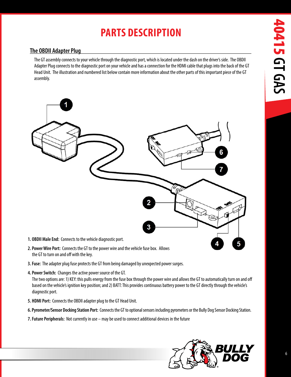 Parts description | Bully Dog 40415 gauge GT Gas tuner User Manual | Page 7  / 51