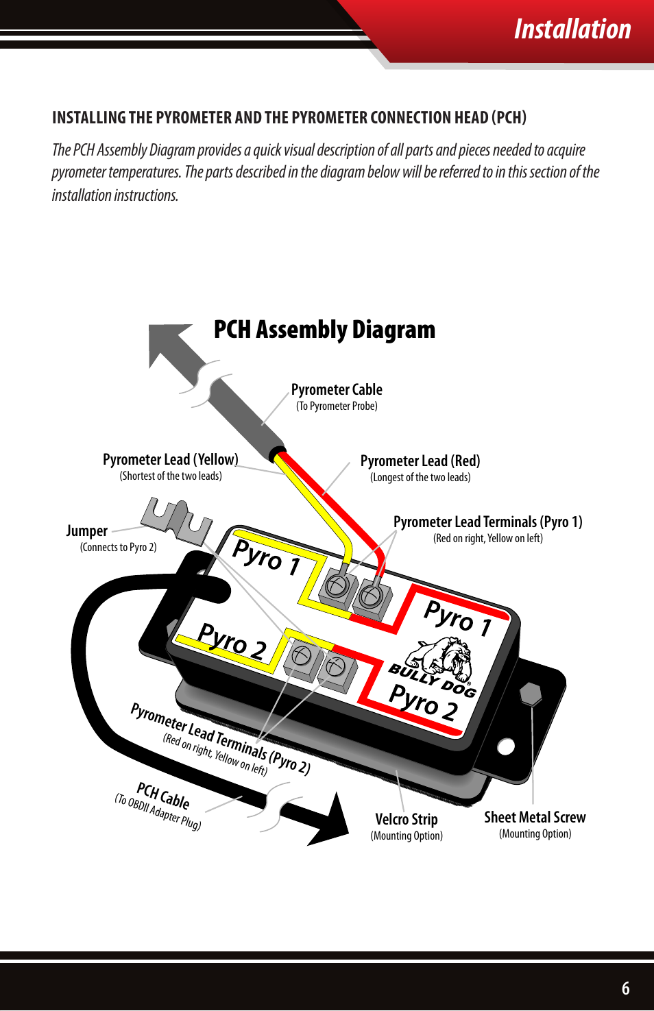 Installation, Pch assembly diagram | Bully Dog 40390 PCH with Pyrometer  Lead User Manual | Page 7 / 16