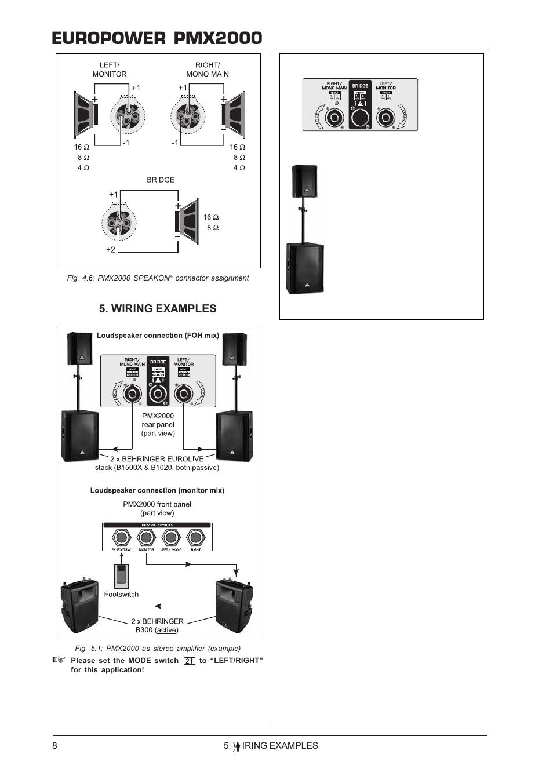 speakon to 1 4 wiring europower pmx2000     wiring    examples behringer europower  europower pmx2000     wiring    examples behringer europower