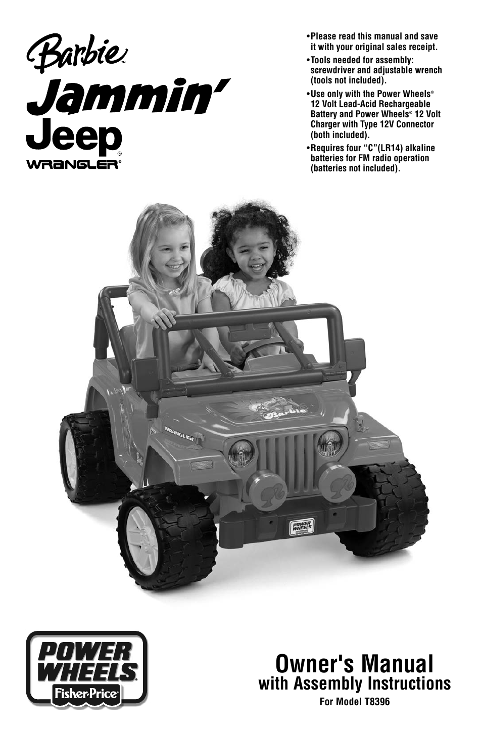 barbie jammin jeep t8396 user manual 24 pages rh manualsdir com Walmart Power Wheels Barbie Jeep Power Wheels for Girls