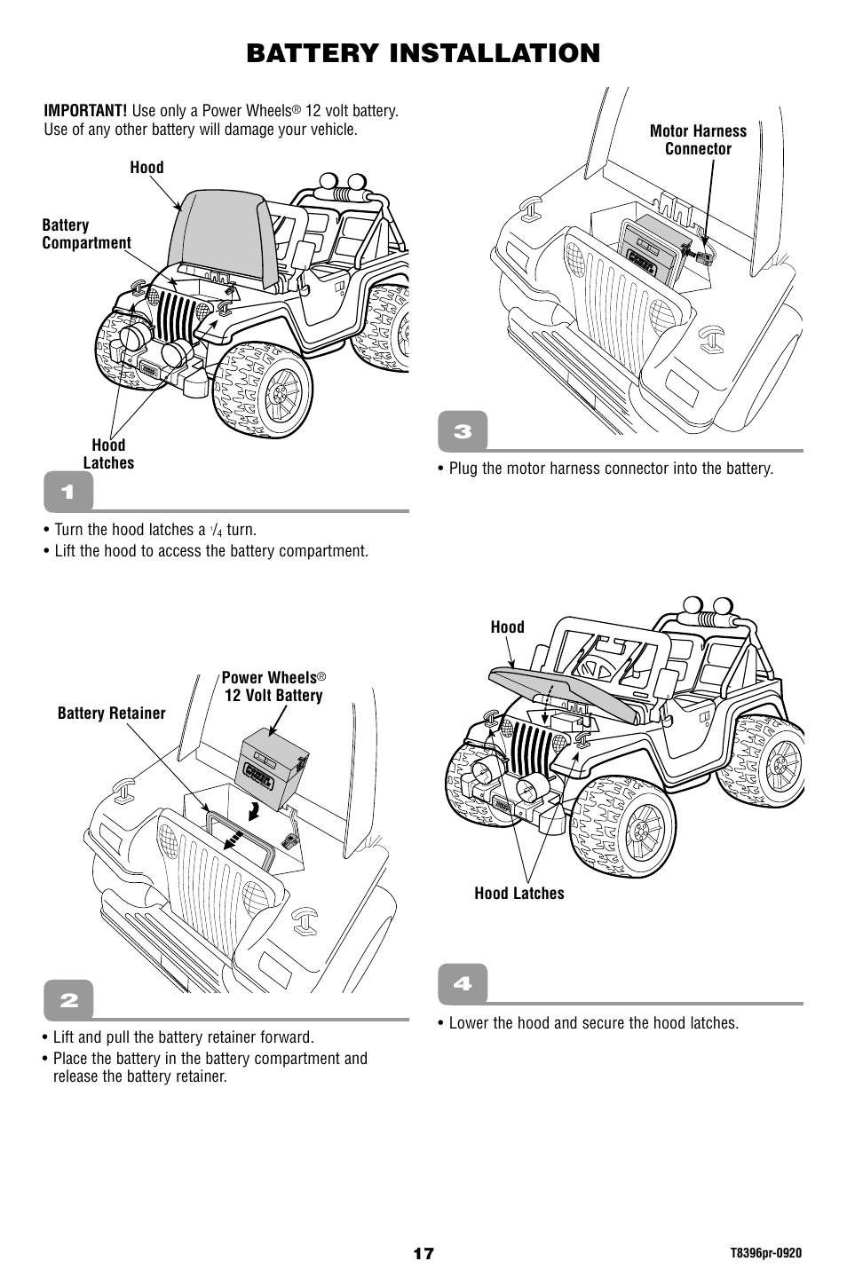 battery installation barbie jammin jeep t8396 user manual page rh  manualsdir com
