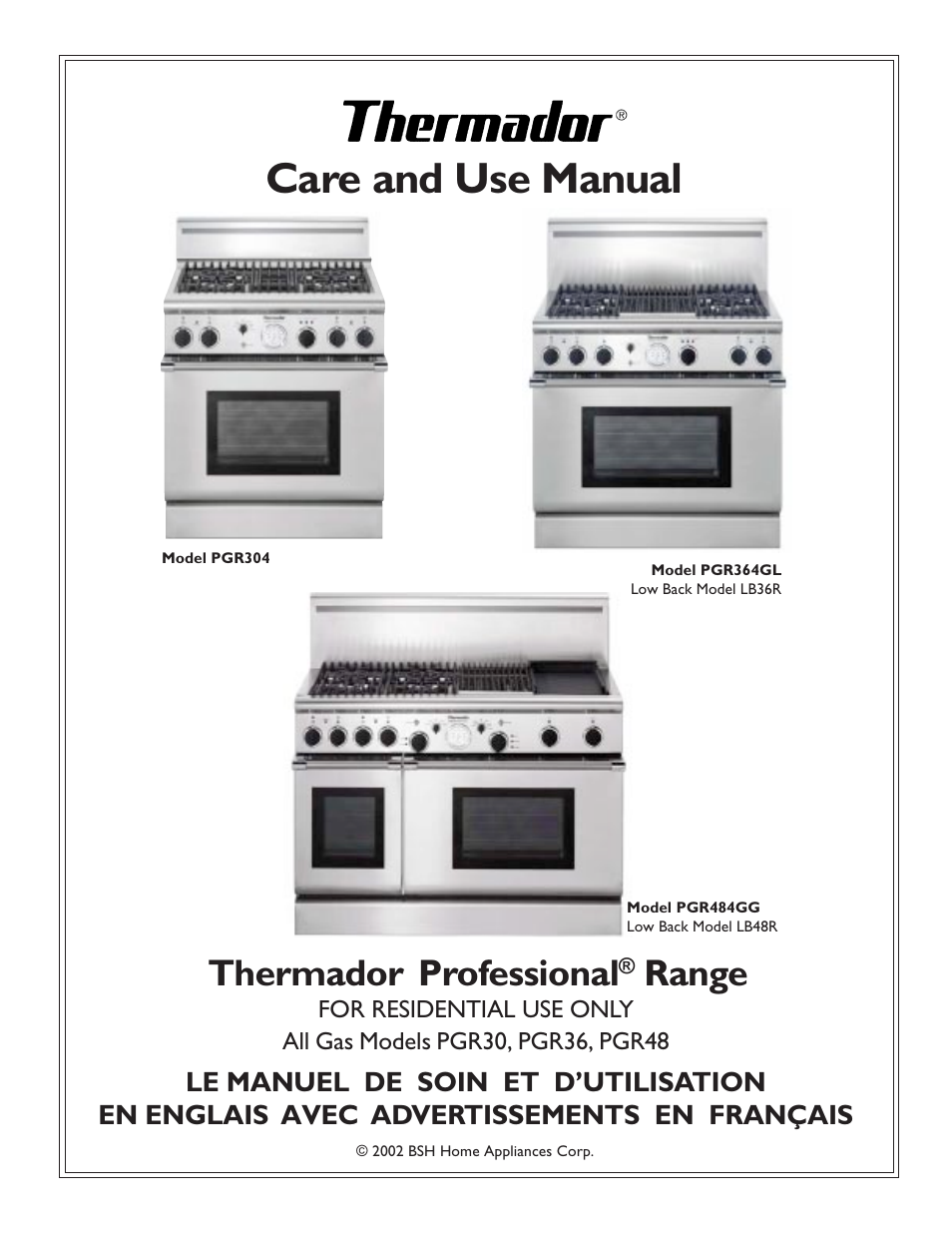 Thermador Pgr304 User Manual 48 Pages Also For