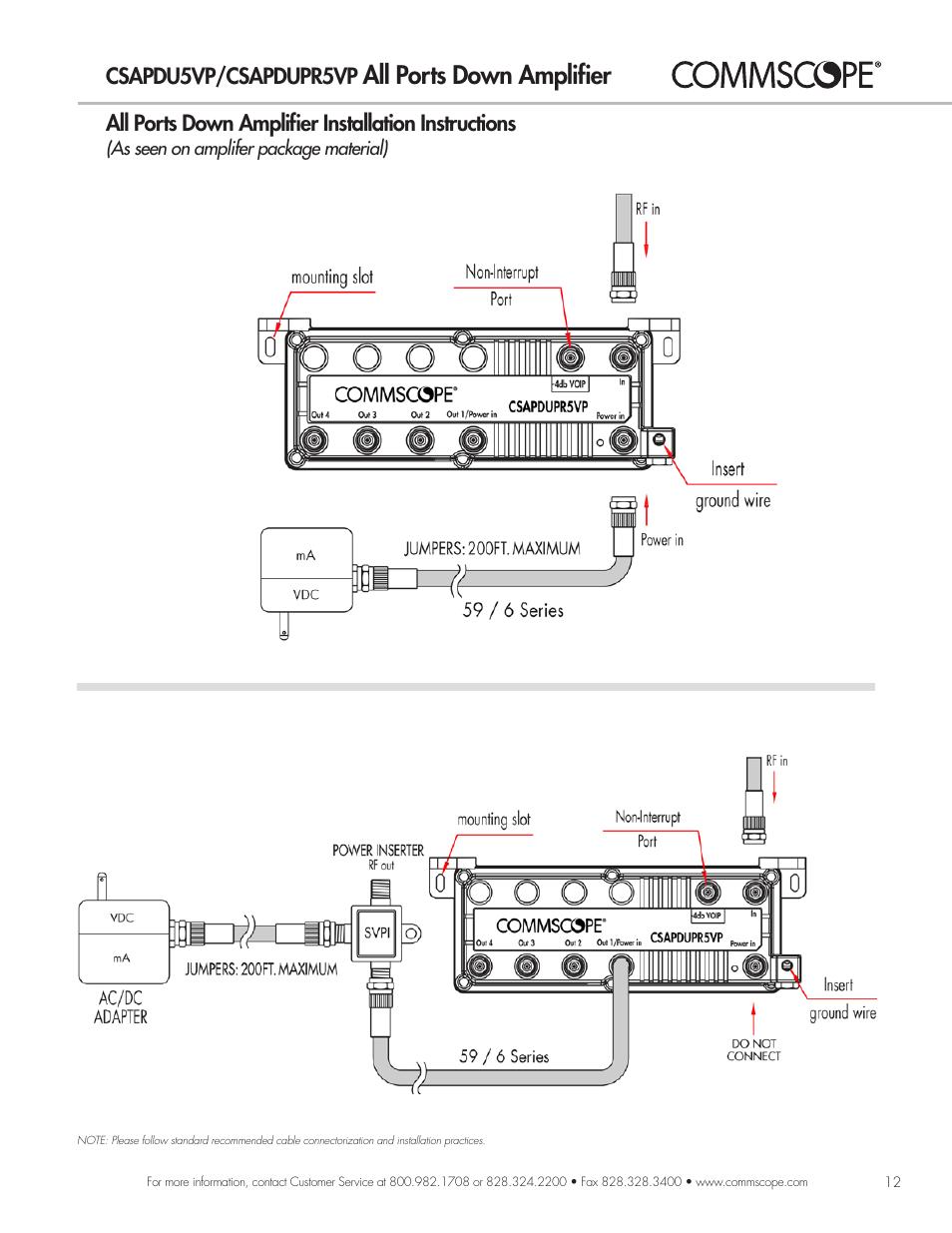 All Ports Down Amplifier, Csapdu5vp/csapdupr5vp, All Ports