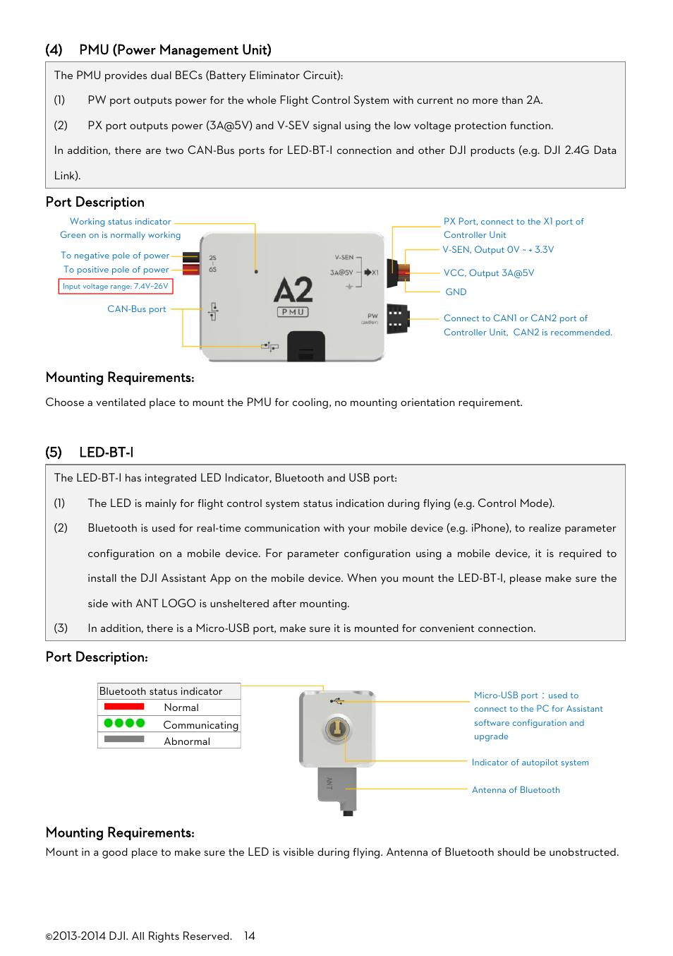4 Pmu Power Management Unit Port Description Mounting Battery Eliminator Circuit Pictures Requirements Dji A2 User Manual Page 14 56