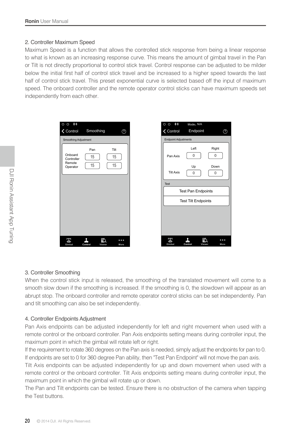 Dji ronin assistant app tuning | DJI Ronin User Manual | Page 20