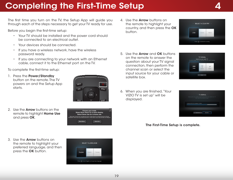 Completing the first-time setup | Vizio E231-B1 - User Manual User
