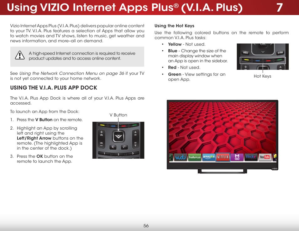 Using vizio internet apps plus, V i a  plus) | Vizio E241i-B1 - User