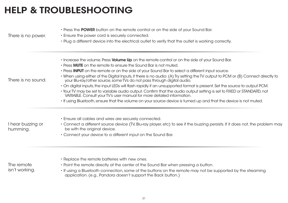 Help Troubleshooting Vizio S5451w C2 Quickstart Guide User Manual Page 31 34