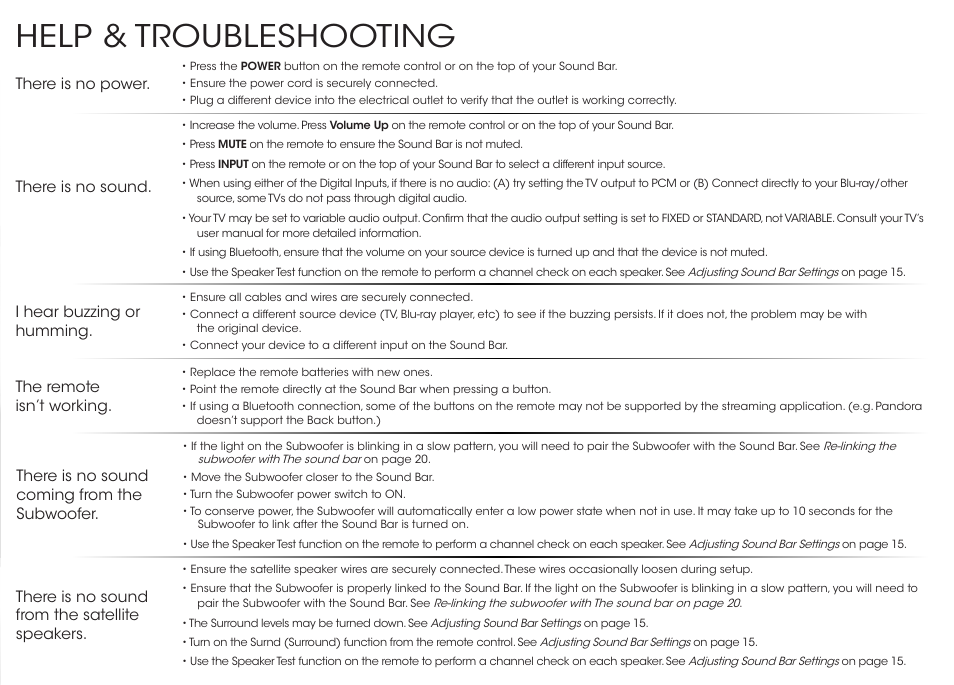 Help Troubleshooting Vizio S3851w D4 Quickstart Guide User Manual Page 33 36