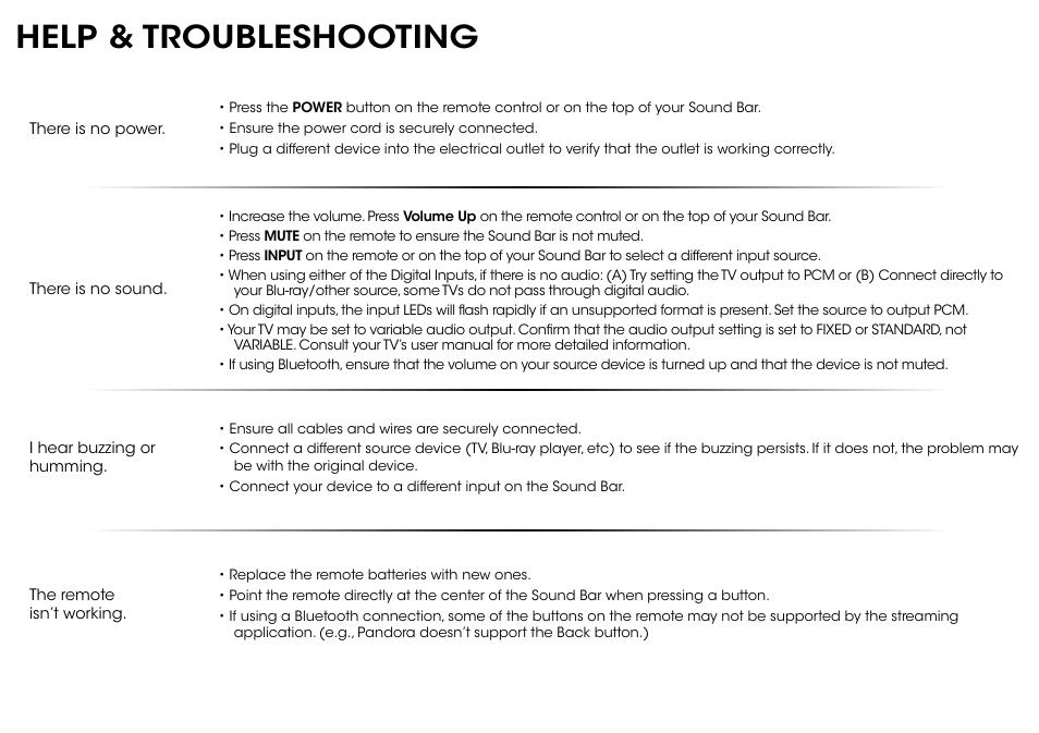 Help & troubleshooting | Vizio S2920w-C0R - Quickstart Guide