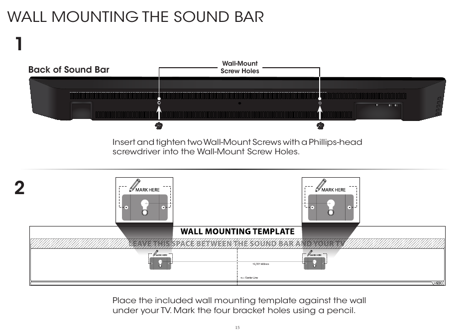 wall mounting the sound bar