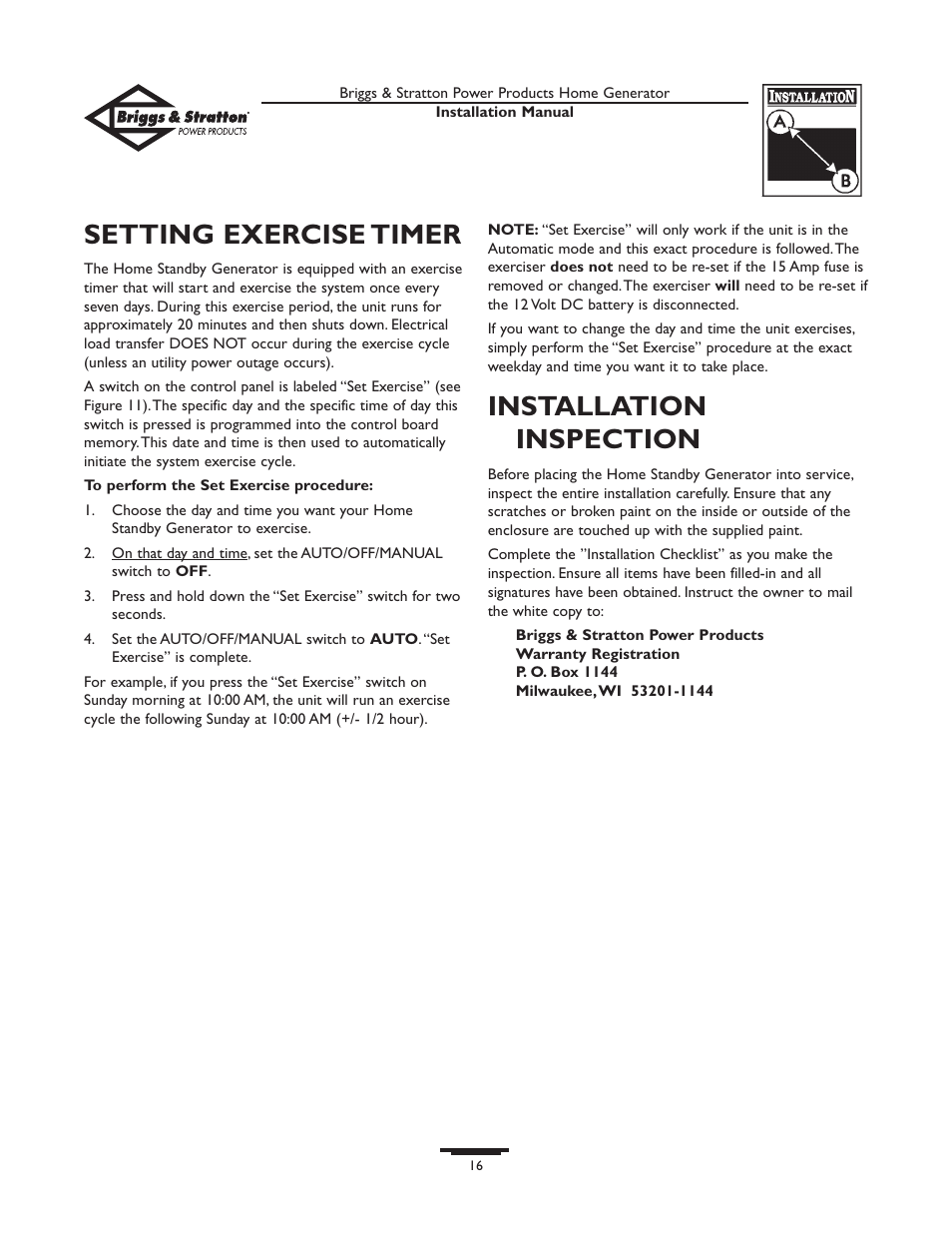 setting exercise timer  installation inspection