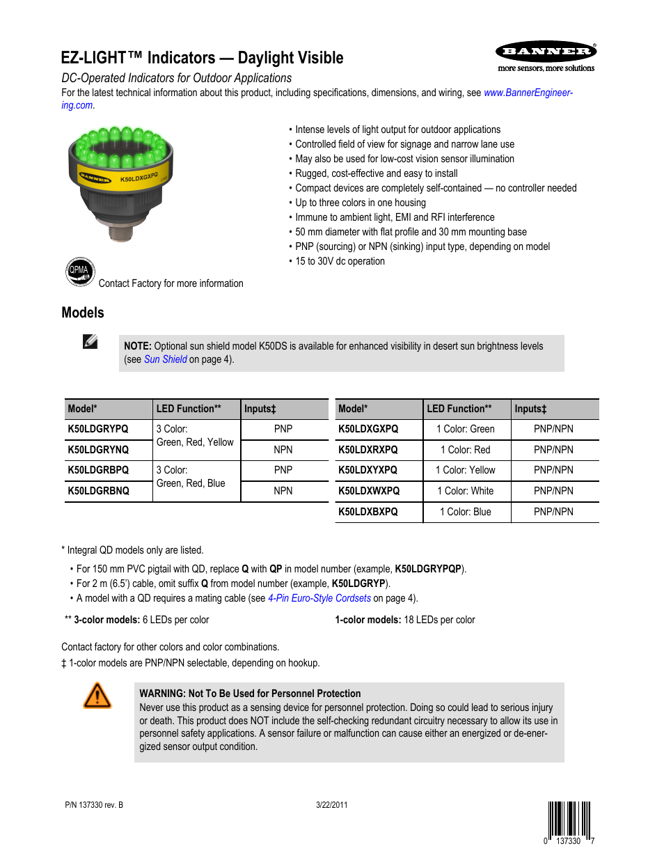 Banner K50L Independent Push Button Contact User Manual   4