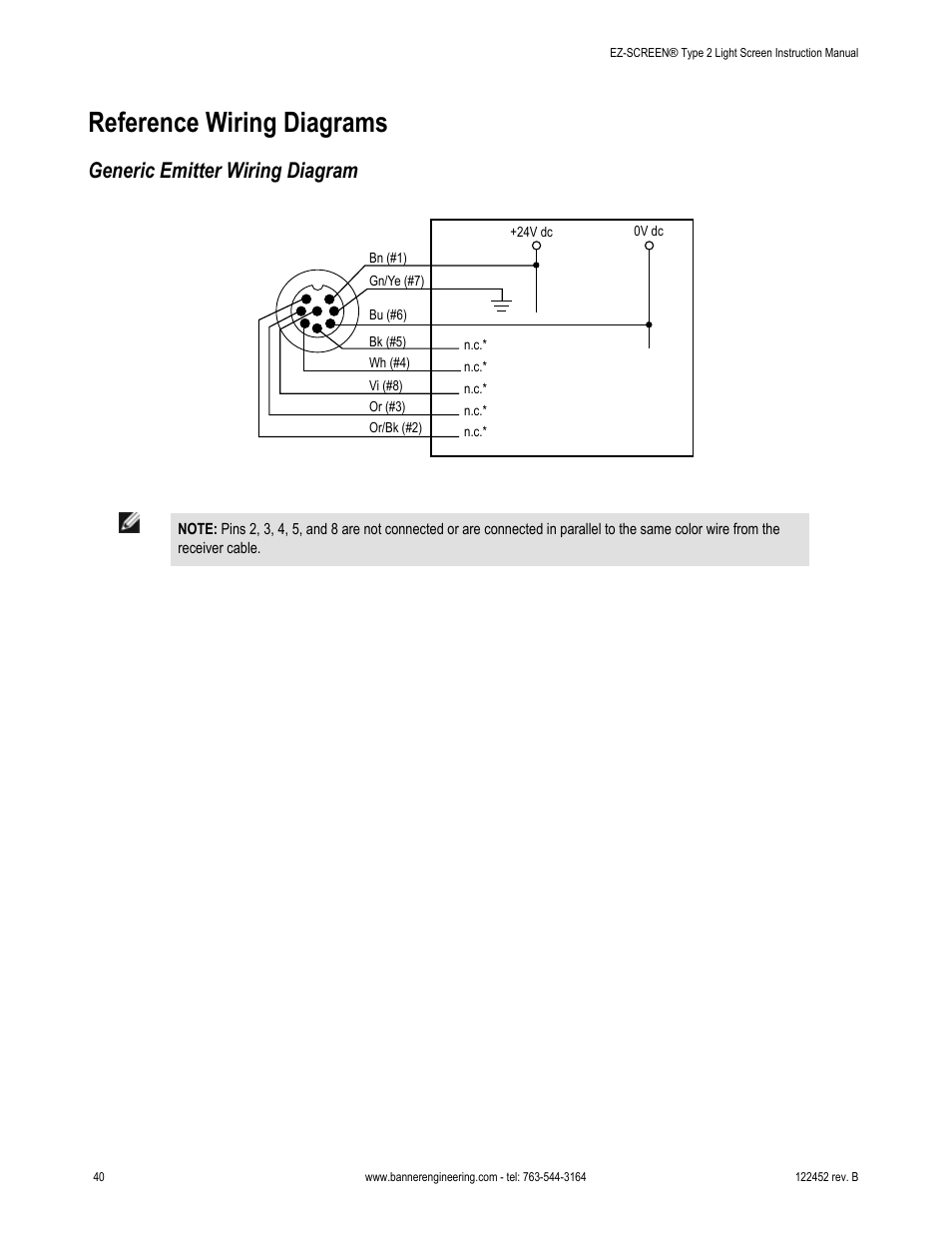 Reference wiring diagrams, Generic emitter wiring diagram | Banner  EZ-SCREEN Safety Light Curtain Systems User Manual | Page 40 / 71