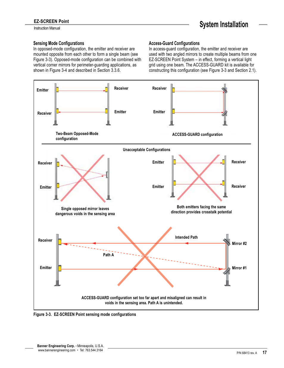 System installation   Banner EZ-SCREEN Safety Light Curtain Systems on banner safety switches, banner light curtain manual, banner light curtain catalog,