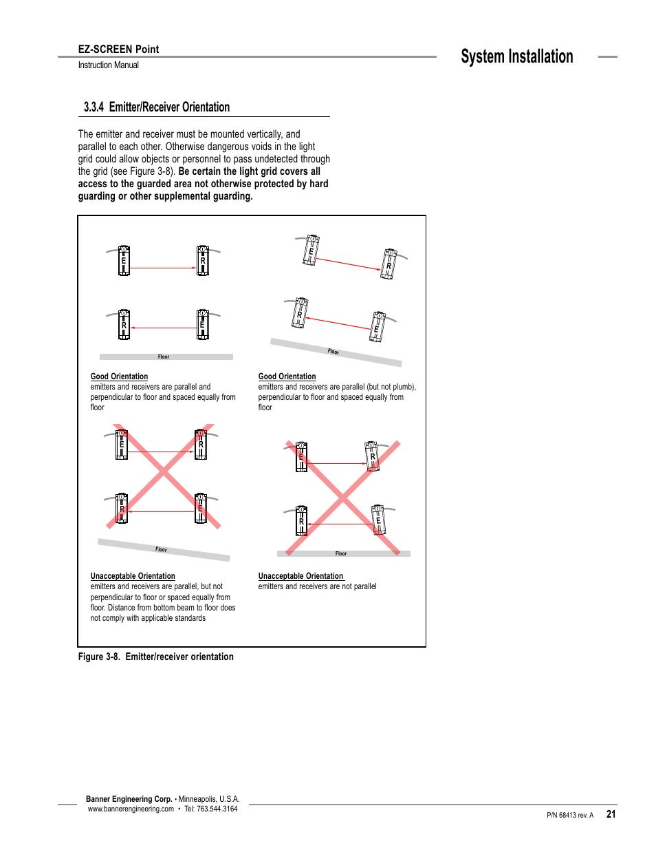 System installation, 4 emitter/receiver orientation, Ez-screen point on banner safety switches, banner light curtain manual, banner light curtain catalog,