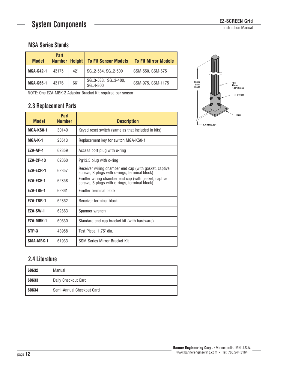 System Components 3 Replacement Parts 2 4 Literature Msa