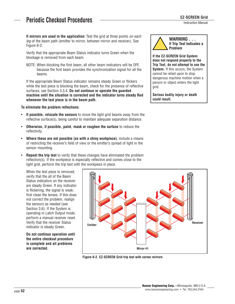Periodic Checkout Procedures, Warning | Banner EZ SCREEN Safety Light  Curtain Systems User Manual