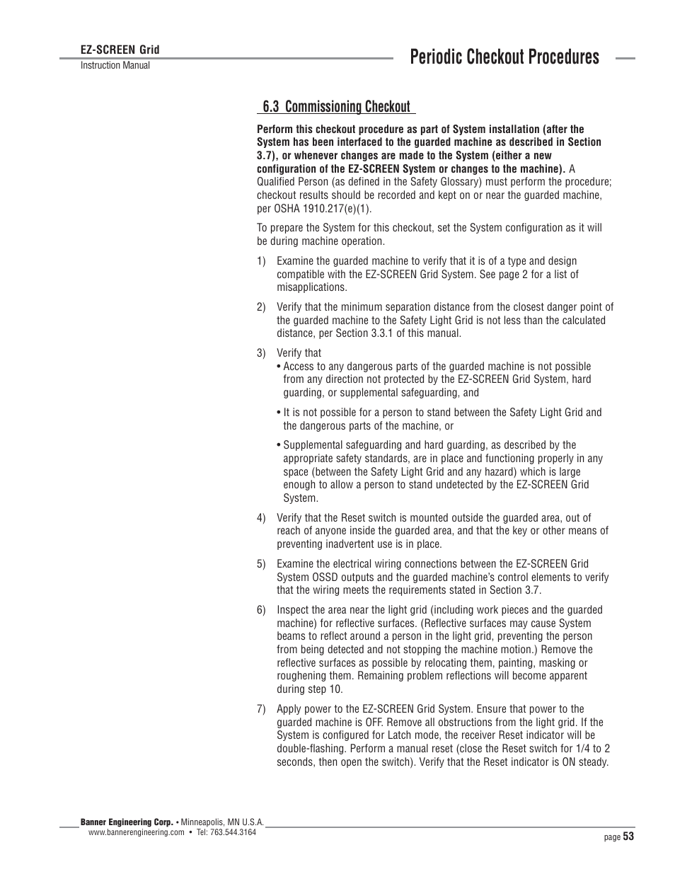 Periodic Checkout Procedures  3 Commissioning Checkout