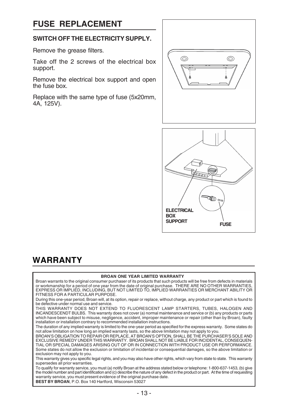 Fuse Replacement Warranty Best K3139 User Manual Page 13 40 Electric Box