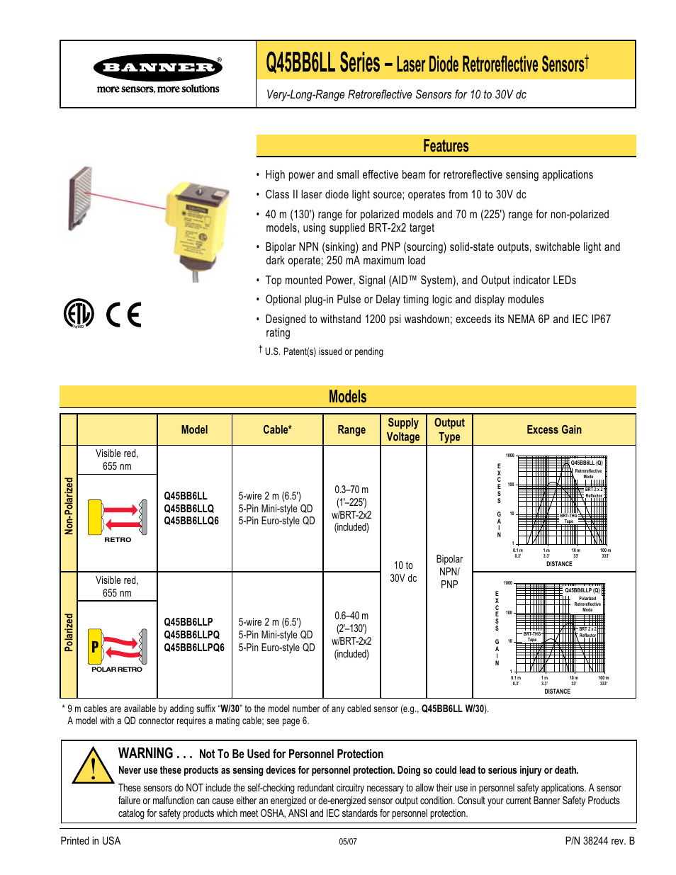 Banner 5 Pin Wiring Diagram Great Installation Of 3 Wire Cdi Q45 Laser Dc Series User Manual 8 Pages Also For Rh Manualsdir Com 6 Box Chinese Dirt Bike