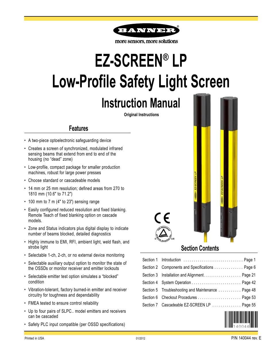Banner EZ SCREEN Low Profile Safety Light Curtain Systems User Manual | 76  Pages | Also For: EZ SCREEN Safety Light Curtain Systems, EZ SCREEN® LP ... Nice Design
