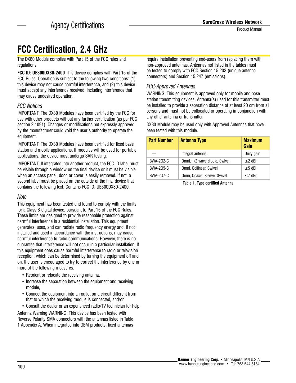 Fcc Certification 24 Ghz Agency Certifications Banner Surecross