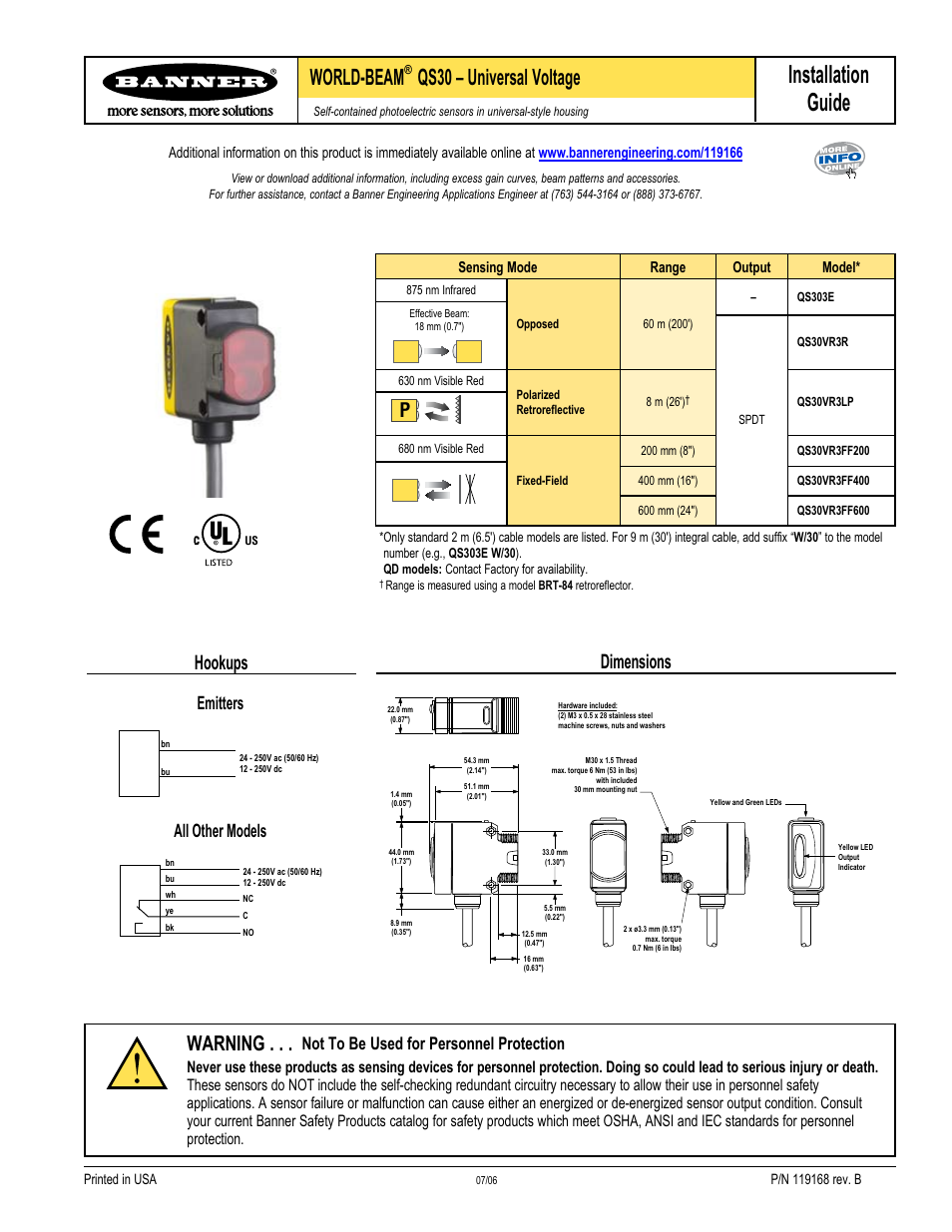 Banner WORLD-BEAM QS30 Series User Manual | 2 pages on
