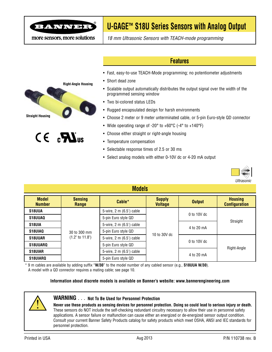 Banner U-GAGE S18U Series—Analog User Manual | 12 pages | Also for ...