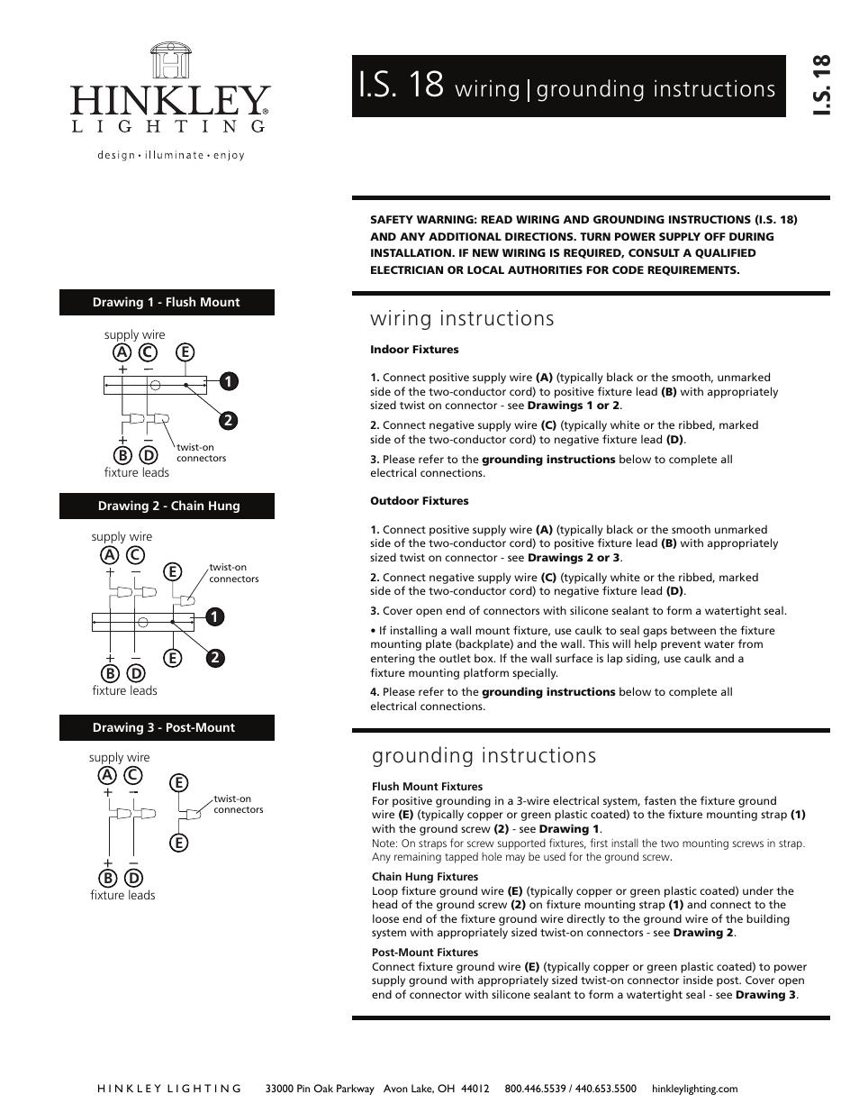I.s. 18, I.s . 18, Wiring grounding instructions | Hinkley Lighting ...