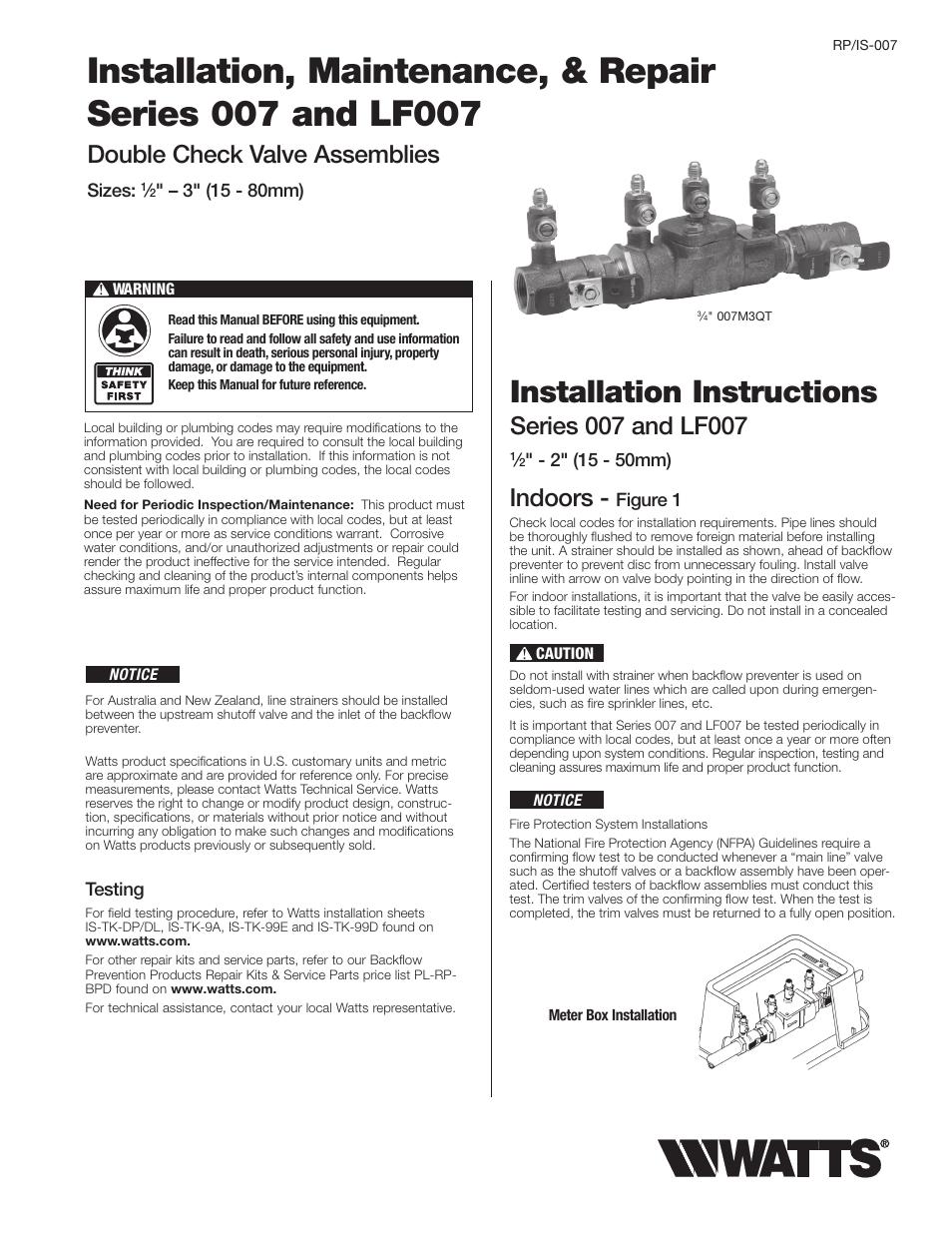 Watts backflow installation instructions