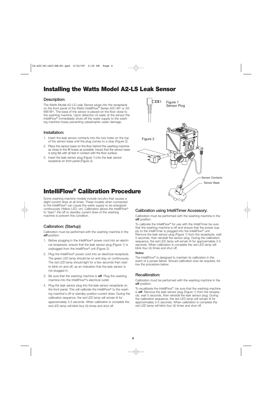 Installing The Watts Model A2 Ls Leak Sensor Intelliflow Alarm Panel Wiring Diagram Calibration Procedure A2c Wb User Manual Page 4 8