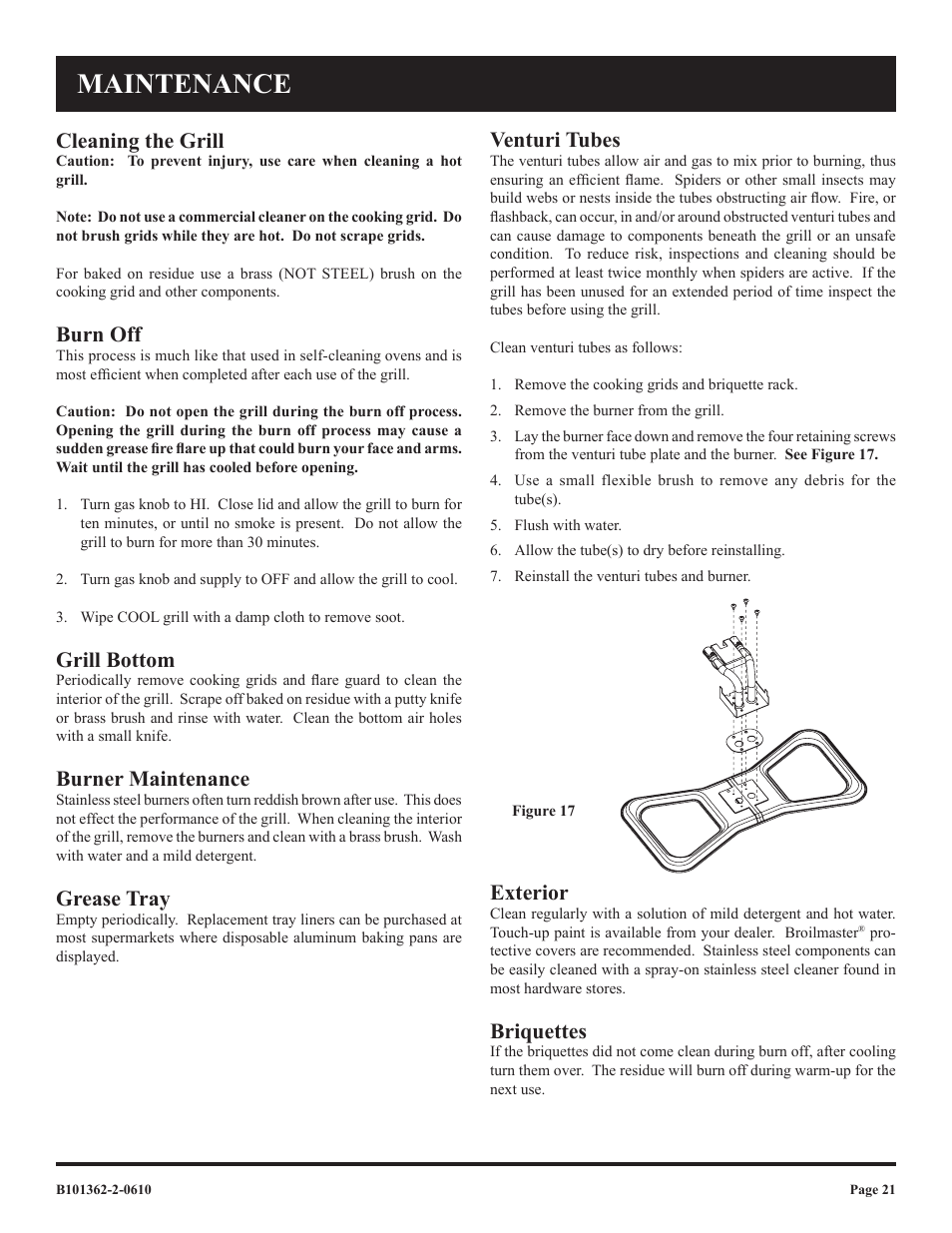 maintenance cleaning the grill burn off broilmaster p3fblw2 user manual page 21 24 - Broilmaster