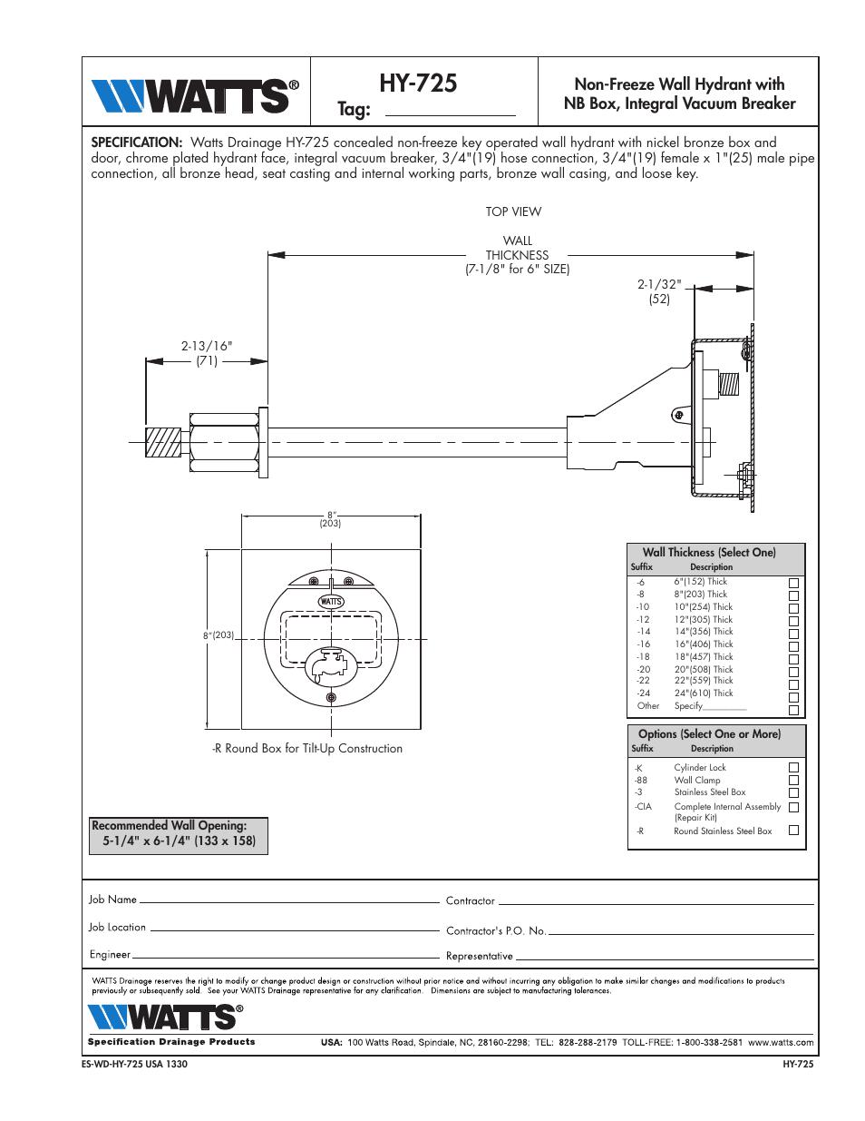 Watts Hy 725 User Manual 1 Page
