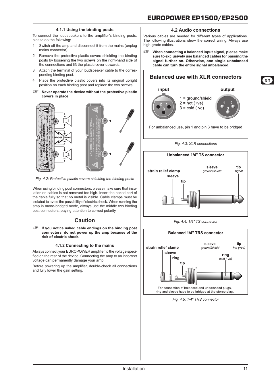 1 Using The Binding Posts 2 Connecting To Mains Audio Trs Connector Wiring Diagram Connections Behringer Europower Ep2500 User Manual Page 11 14