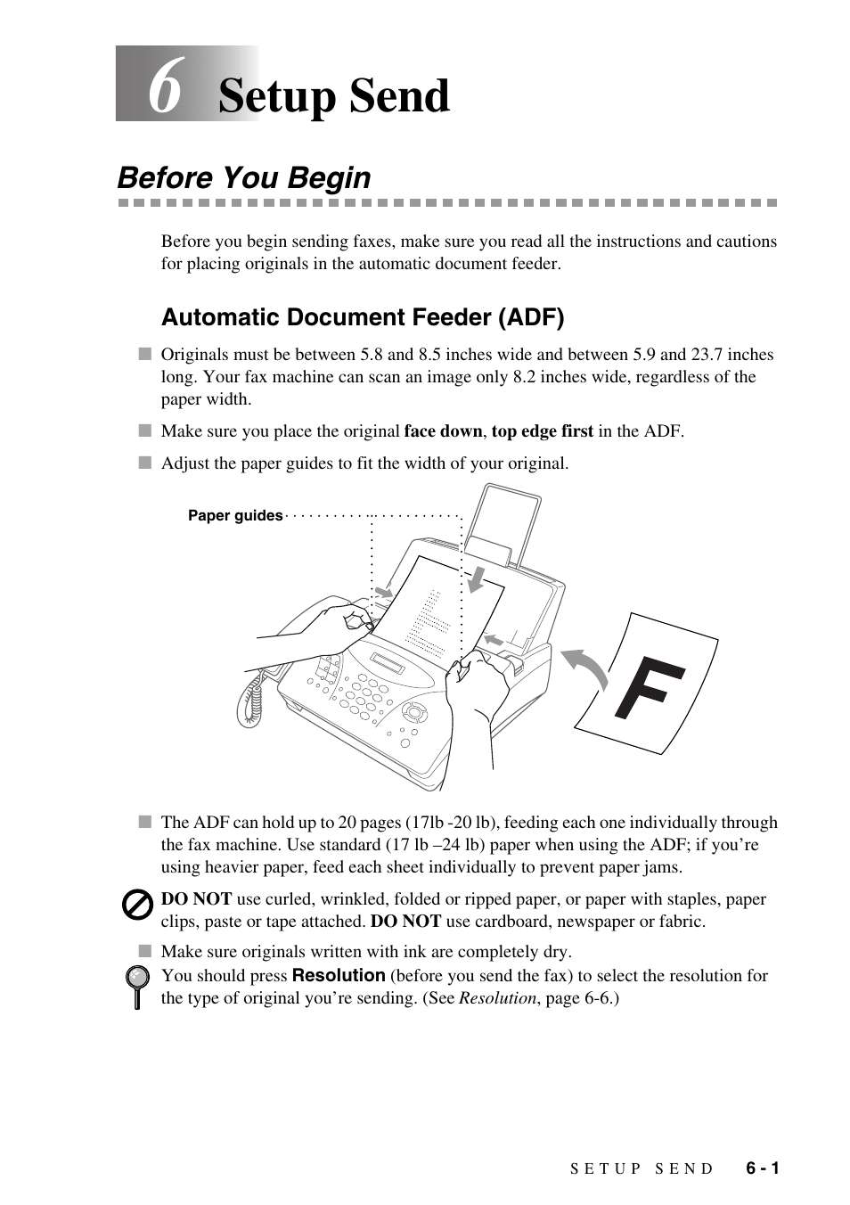 6 setup send, Before you begin, Automatic document feeder (adf)   Brother  IntelliFAX 1270e User Manual   Page 51 / 108