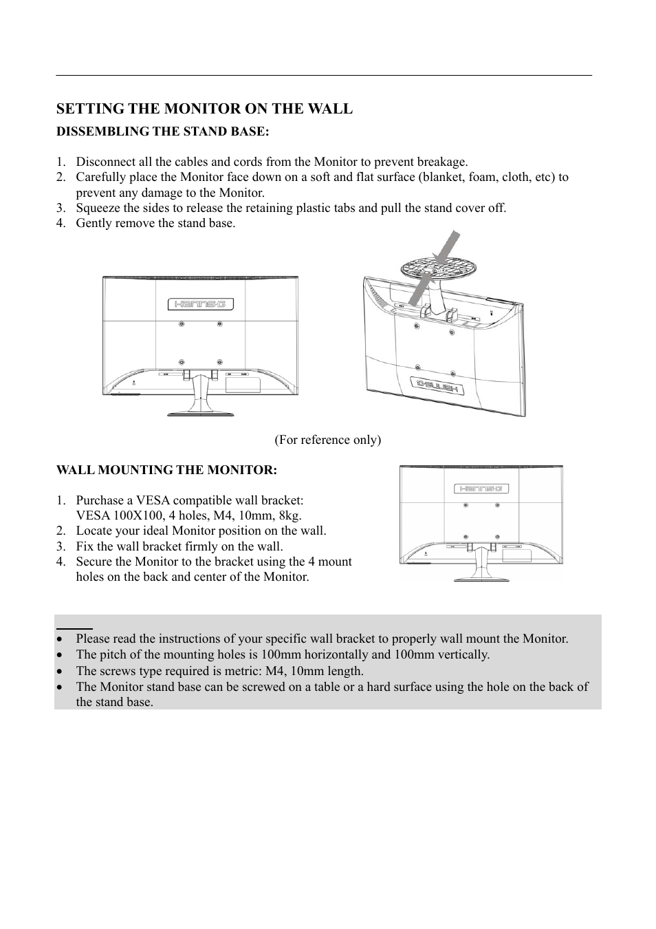 Setting the monitor on the wall | Hanns.G HL225 User Manual | Page 10 / 24