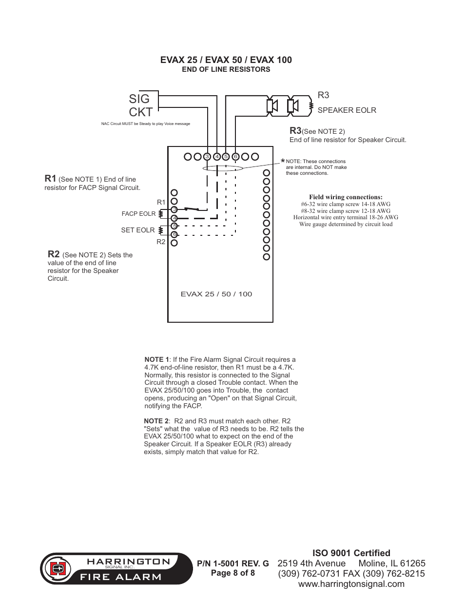 Sig Ckt Fire Alarm Harrington Signal Have 100 User Eol Resistor Wiring Diagram Manual Page 8 9