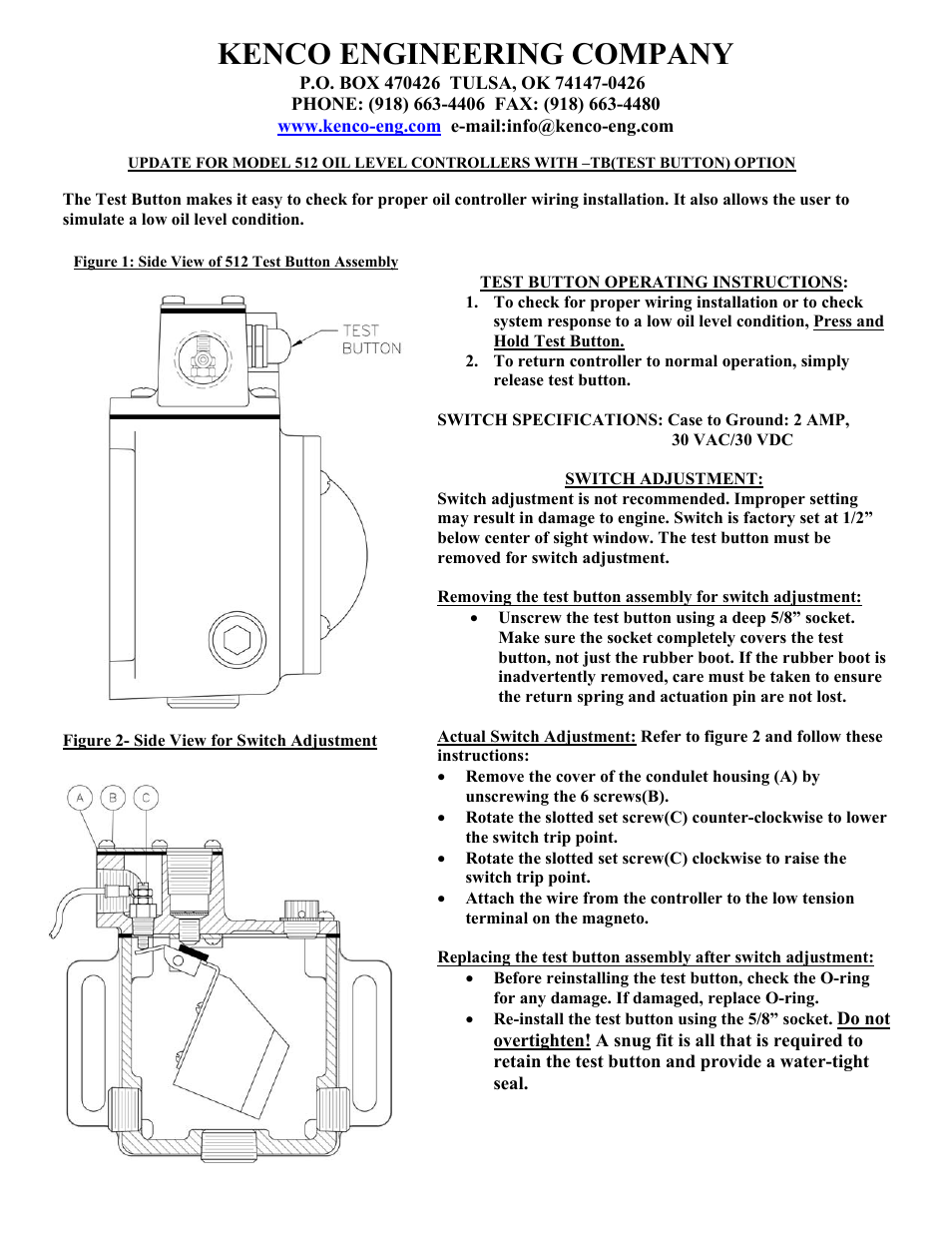 Kenco Engineering 512-TB (old style) User Manual | 1 page