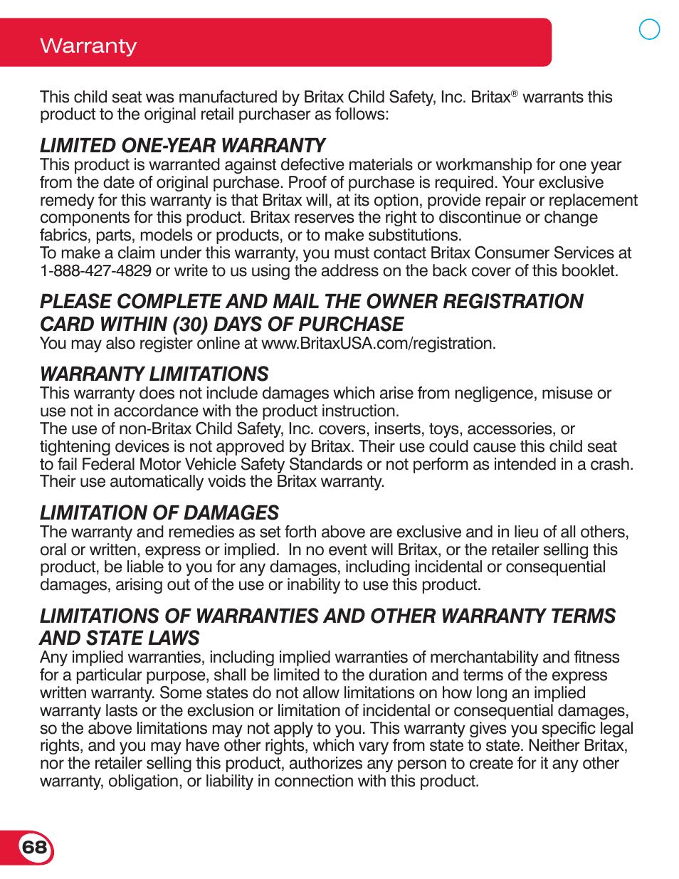 Limited one-year warranty, Warranty limitations, Limitation of damages |  Warranty | Britax