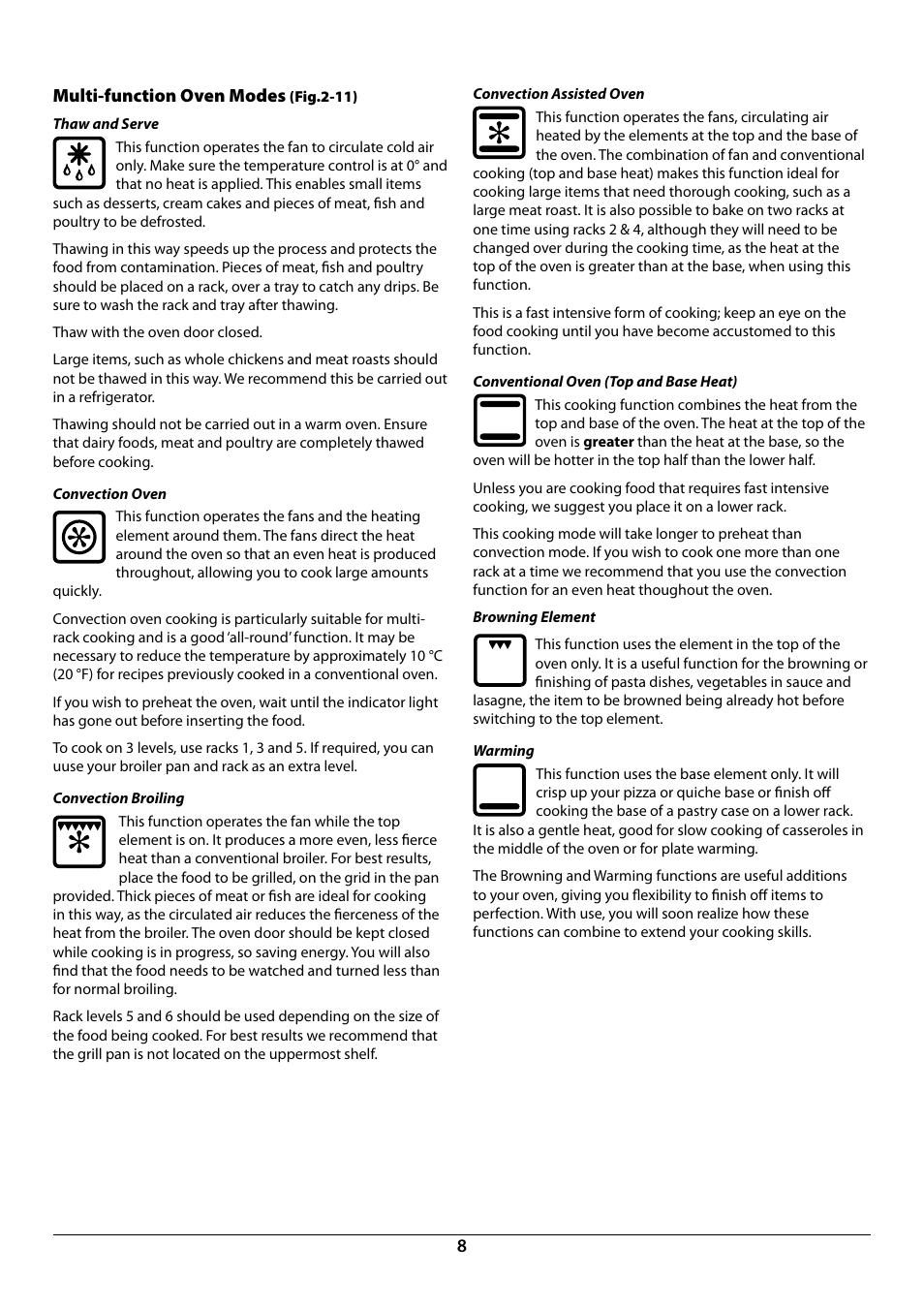8multi Function Oven Modes La Cornue Cornuf 44 User Manual Page