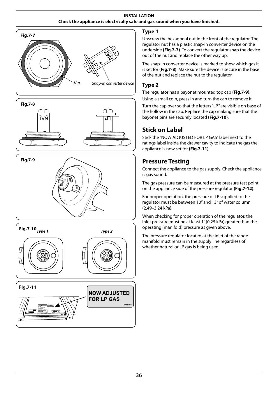 Stick on label, Pressure testing   La Cornue AlberTine 36 User ...