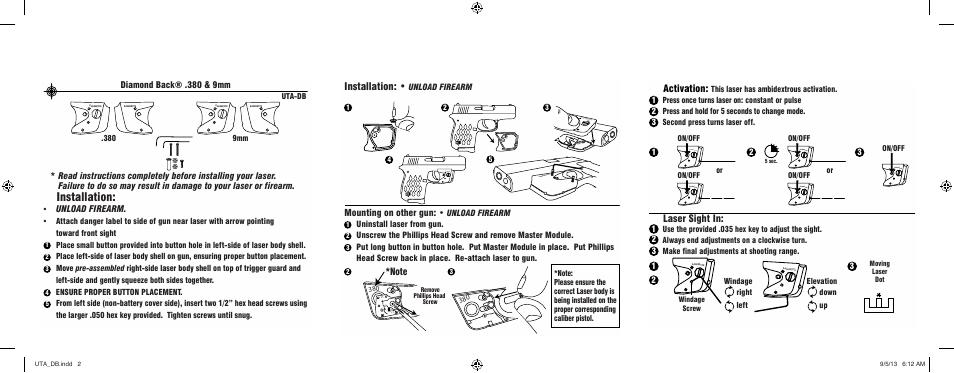 Installation, Activation, Laser sight in | LaserLyte UTA-DB