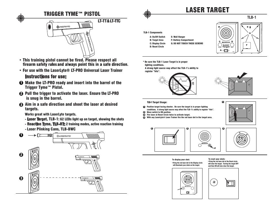 Trigger tyme™ pistol, Instructions for use, Laser target