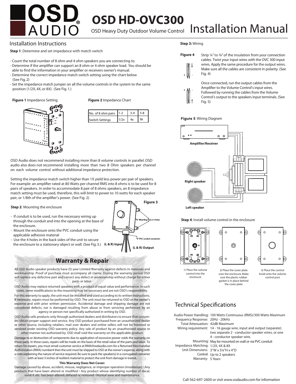 Osd Audio Ovc100 User Manual 1 Page Also For Ovc300 In Wall Speaker Wiring Diagram