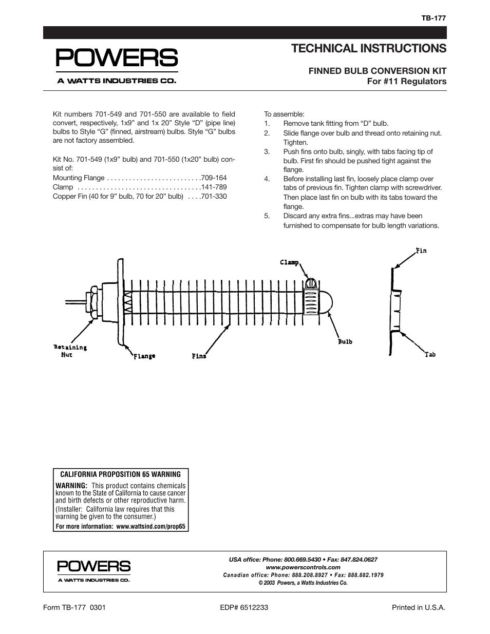Powers 595 Series 11 Self-Operating Temperature Regulators - Finned