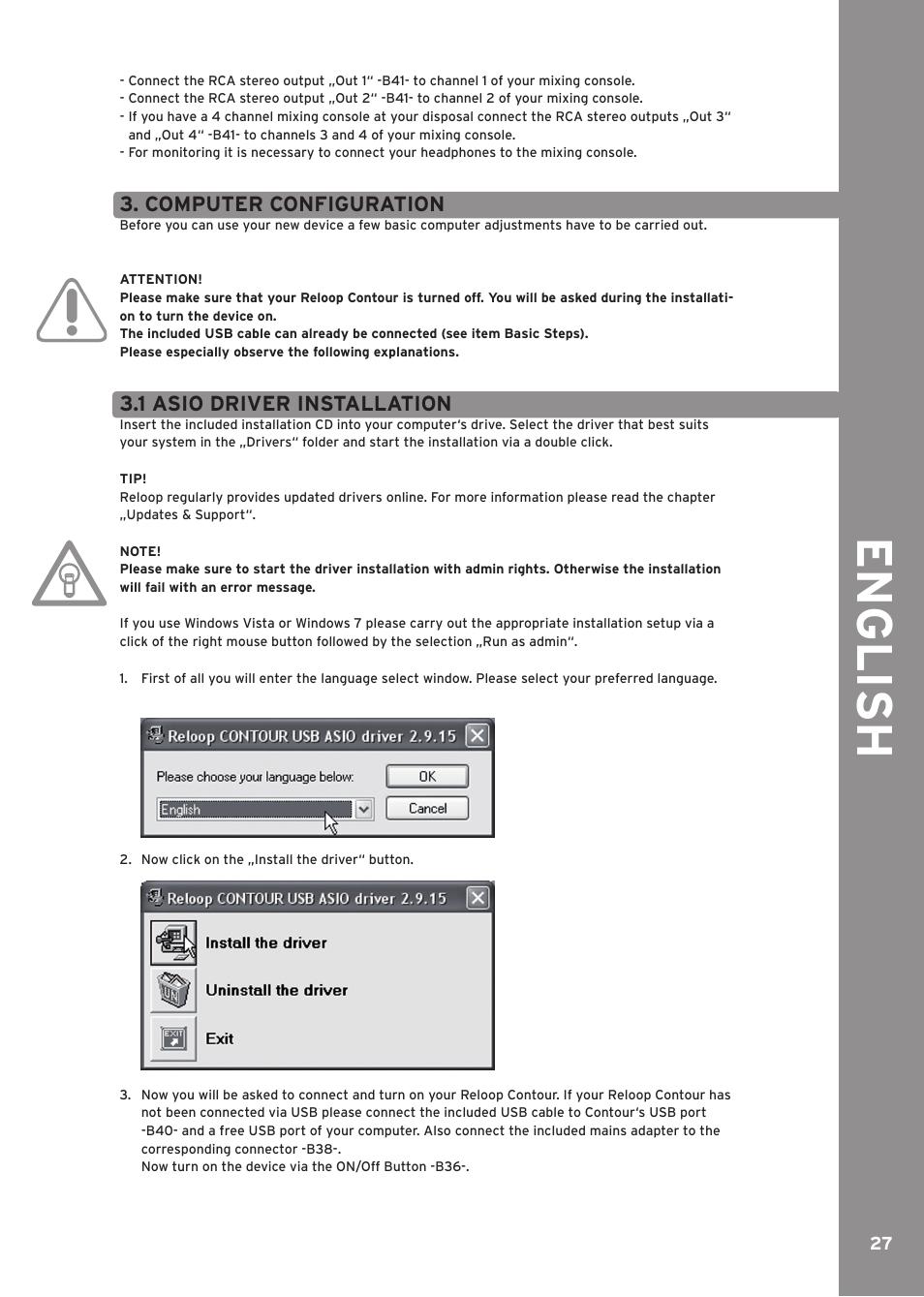 Computer configuration, 1 asio driver installation, Engli sh