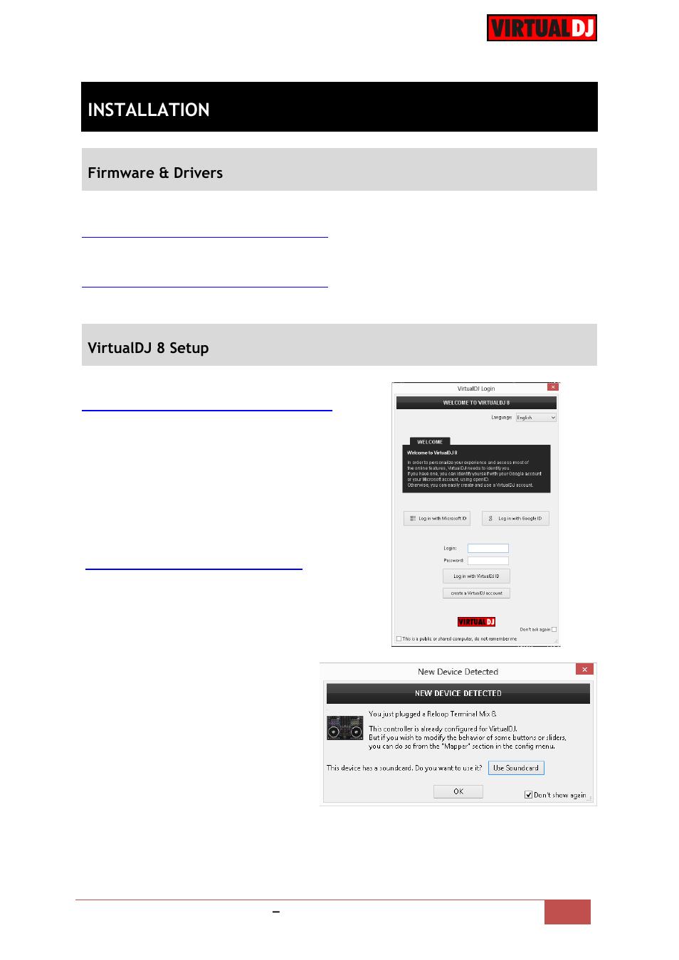 Installation, Firmware & drivers, Virtualdj 8 setup | Reloop
