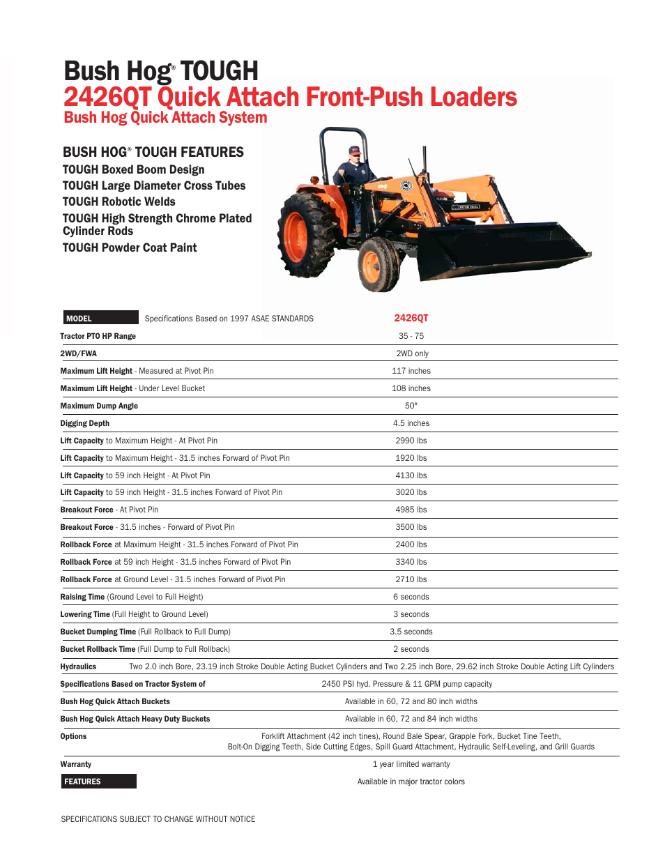 Bush Hog Front-Push Loaders 2426QT User Manual | 1 page