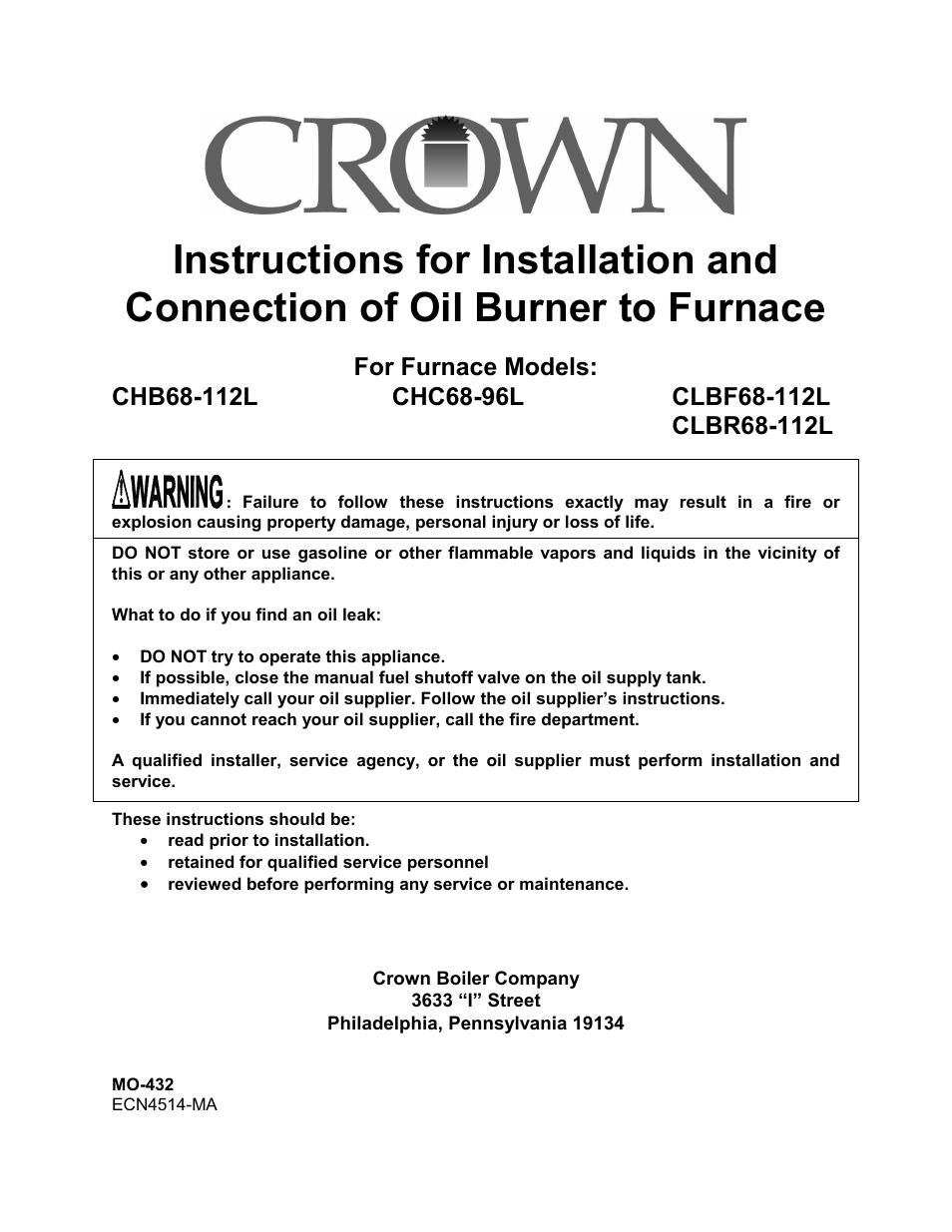 crown boiler clbr68 112l user manual 6 pages also for. Black Bedroom Furniture Sets. Home Design Ideas
